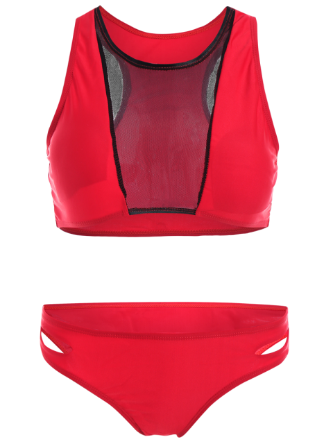 hot Color Block Mesh Panel Bikini Set - RED XL Mobile