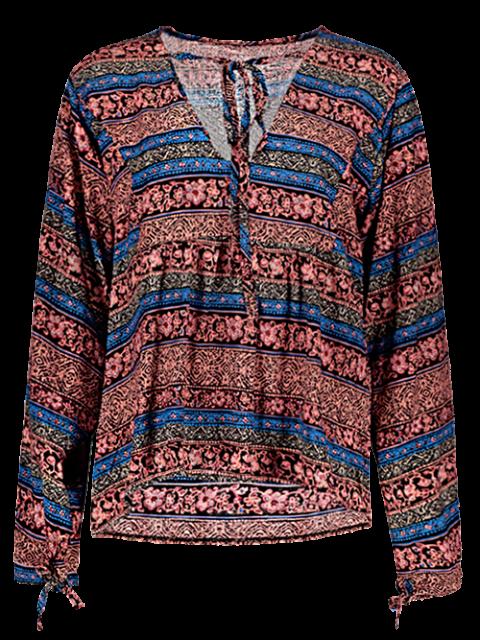 fancy Bohemian Loose Printed Blouse - BLUE 2XL Mobile