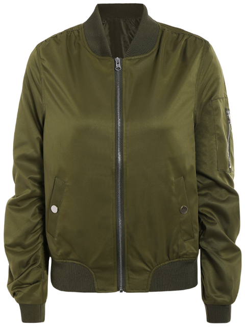 shop Zippered Sleeve Bomber Jacket - ARMY GREEN L Mobile