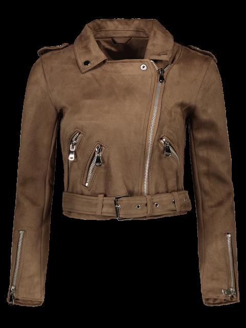 trendy Lapel Zipper Pockets Suede Jacket - KHAKI L Mobile