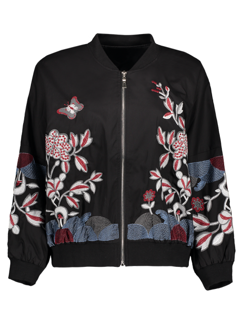 outfits Puffed Sleeve Bomber Jacket - BLACK M Mobile