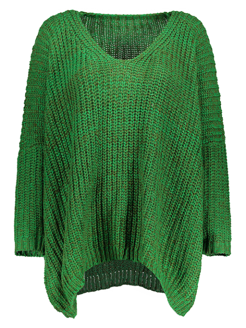 outfits Space Dye Oversized Batwing Sweater - GREEN ONE SIZE Mobile