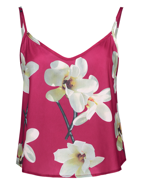 unique Adjusted Floral Satin Camisole - RED S Mobile
