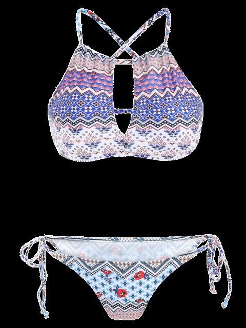 shops Tribal Tie Side Hollow Out Bikini Set - COLORMIX M Mobile