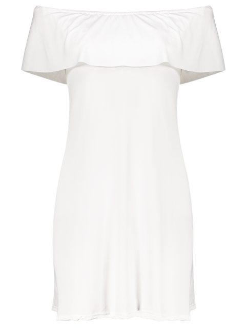 best Frilled Off The Shoulder Mini Dress - WHITE M Mobile