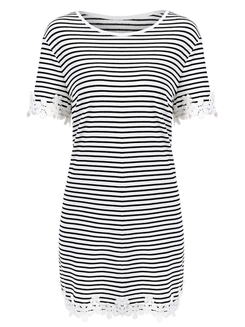 chic Trimming Striped Short Sleeve T-Shirt Dress - WHITE XL Mobile
