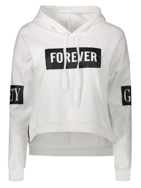 new Side Zipper Graphic Patched Hoodie - WHITE ONE SIZE Mobile