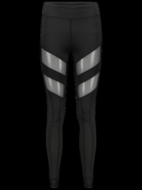 sale See-Through Tight Sport Running Leggings - BLACK XL Mobile