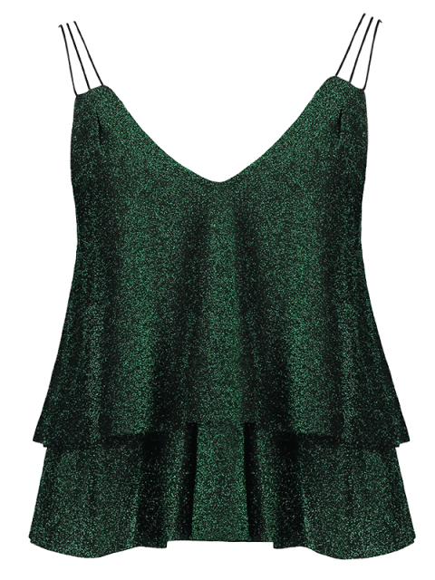 outfits Cropped Layered Strappy Glitter Tank Top - BLACKISH GREEN S Mobile