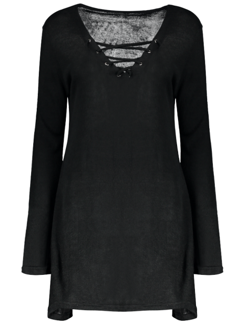 sale Flared Sleeve Lace Up Knit Dress - BLACK XL Mobile