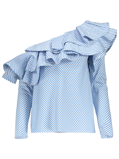 outfits Skew Neck Ruffles Striped Blouse - STRIPE L Mobile