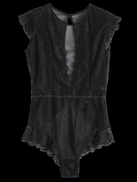 unique Keyhole Plunging Neck Mesh Lace Bodyduit - BLACK M Mobile
