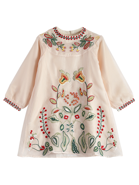 ladies Embroidered Mini Organza Dress - APRICOT S Mobile