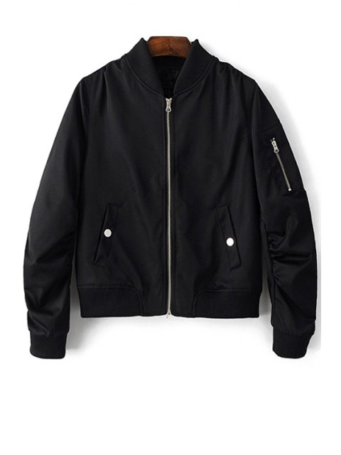 chic Zippered Sleeve Bomber Jacket - BLACK M Mobile
