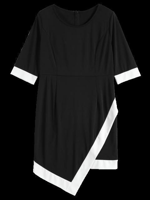 chic Overlap Contrast Trim Bandage Plus Size Dress - WHITE AND BLACK XL Mobile