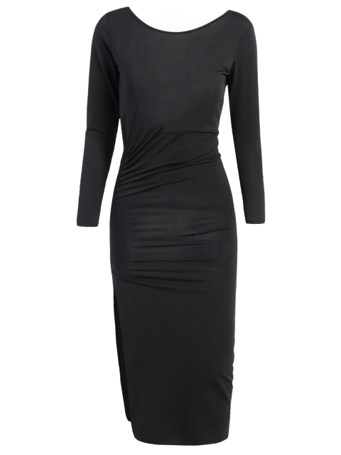 ladies Ruched Asymmetric Evening Dress - BLACK L Mobile