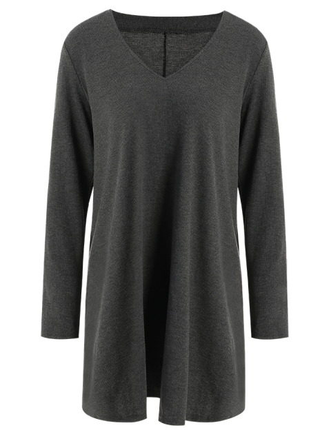ladies Long Sleeve Smock Mini Dress - DEEP GRAY S Mobile