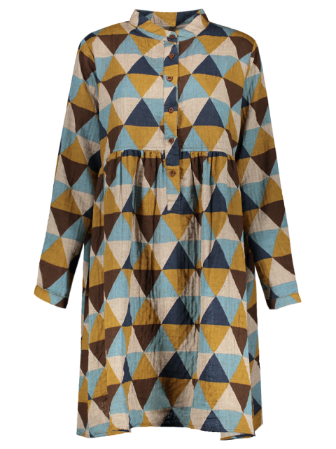 affordable Geometric Print Long Sleeves Checked Shirt Dress - COLORMIX ONE SIZE Mobile