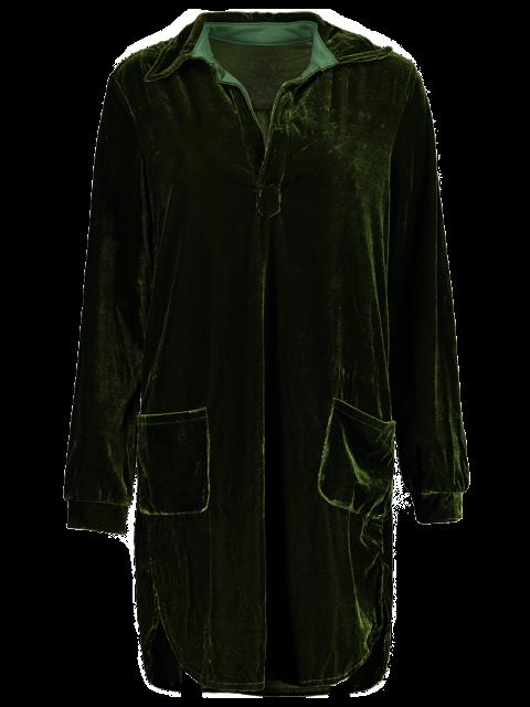 ladies Loose Velvet Shirt Dress - ARMY GREEN L Mobile