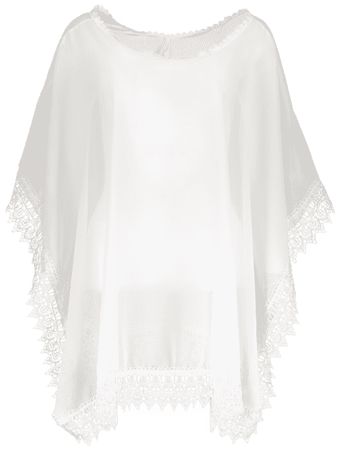 trendy See-Through Lace Edging Half Sleeve Cover-Up - WHITE ONE SIZE Mobile