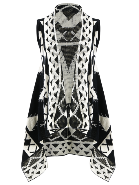 women Knitting Printed Cape Waistcoat - BLACK S Mobile