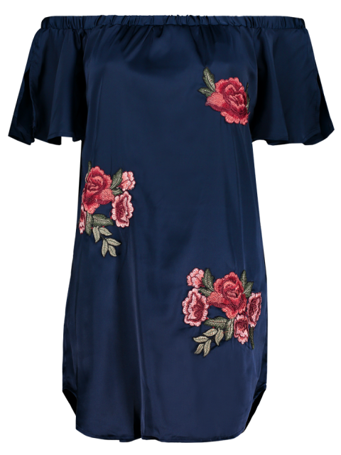 women Off The Shoulder Floral Mini Dress - CADETBLUE L Mobile
