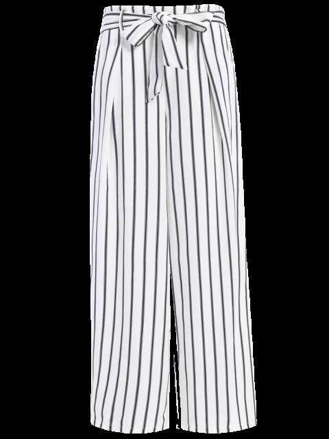 chic Side Knot Stripe Wide Leg Pants - WHITE S Mobile