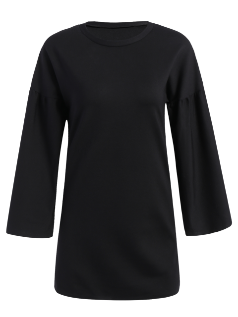 ladies Round Collar Shift Dress - BLACK M Mobile