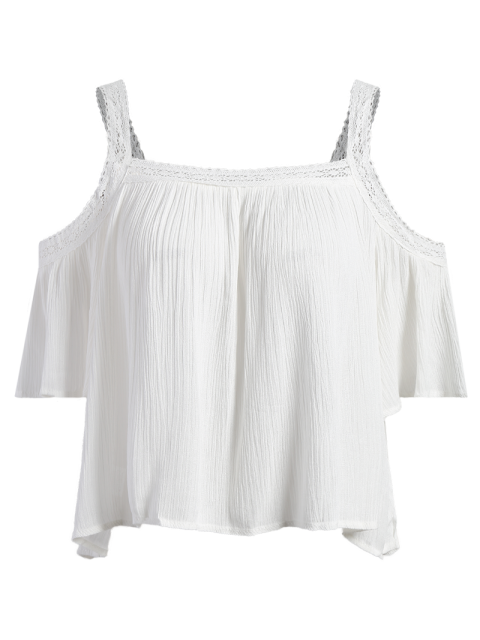 womens Cold Shoulder Flowy Blouse - WHITE S Mobile