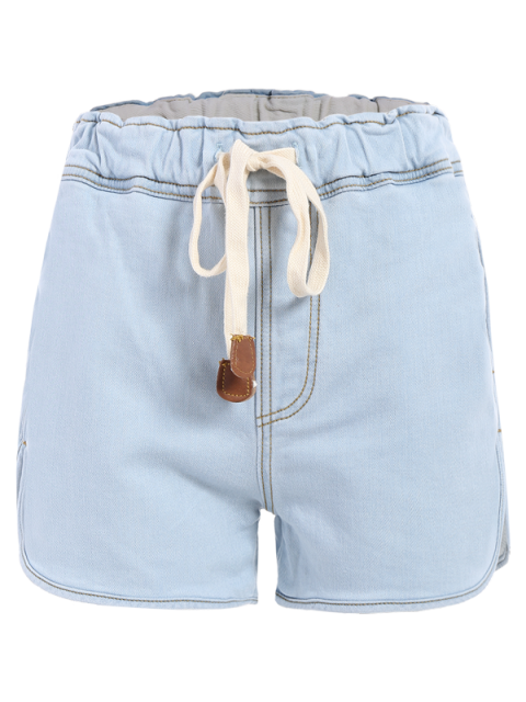 shop Drawstring Denim Shorts - LIGHT BLUE M Mobile