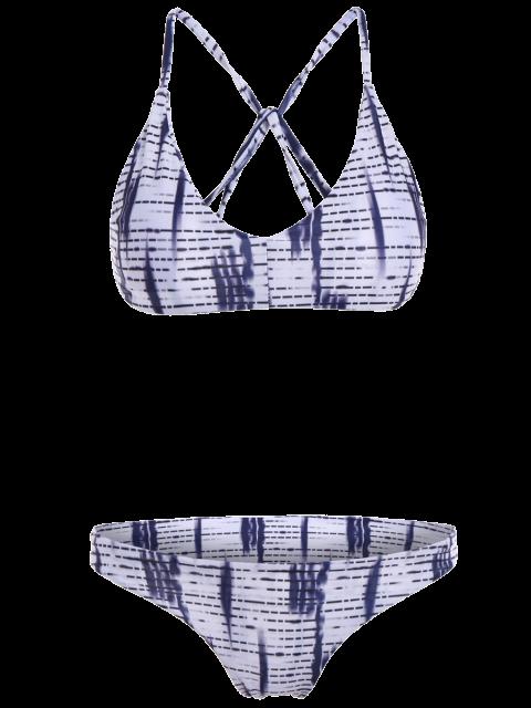 fashion Spaghetti Straps Ombre Print Bikini Set - WHITE M Mobile