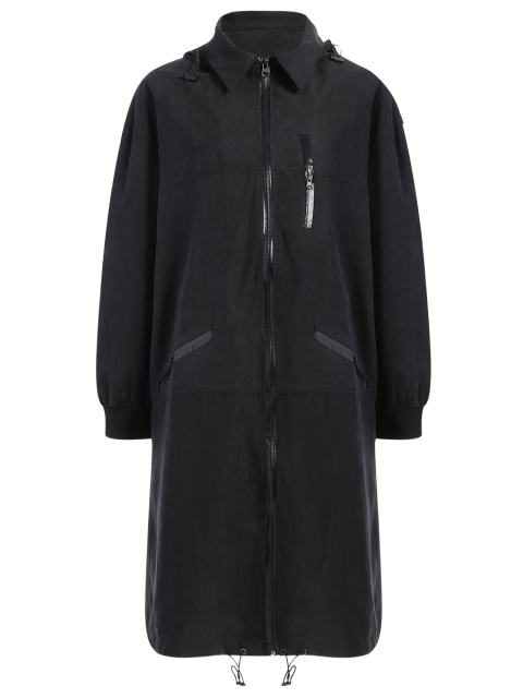shops Full Zip Trench Coat With Pockets - BLACK L Mobile