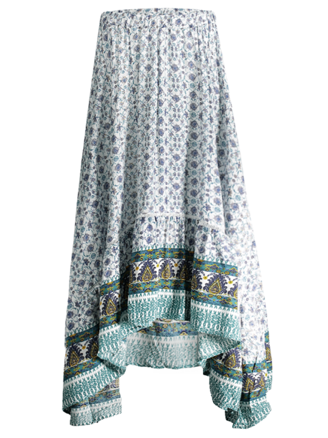 hot Patterned High Low Maxi Boho Skirt - WHITE L Mobile