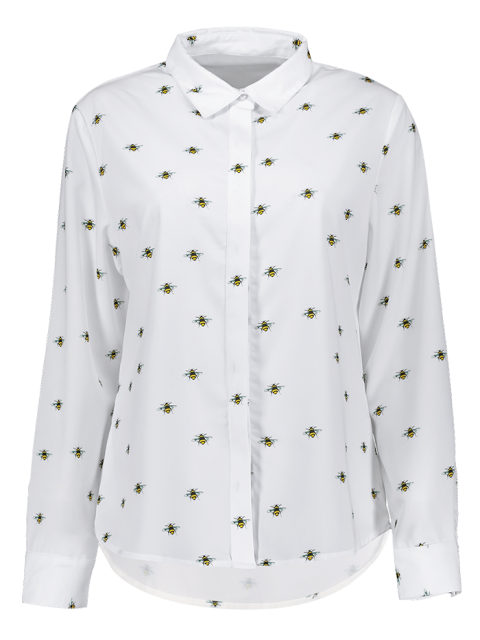 buy Funny Bee Print Shirt - WHITE S Mobile