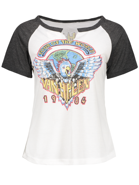 lady Eagle Print Round Neck Short Sleeve T-Shirt - WHITE L Mobile