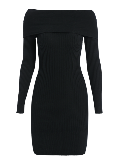 trendy Ribbed Off The Shoulder Sweater Bodycon Dress - BLACK ONE SIZE Mobile
