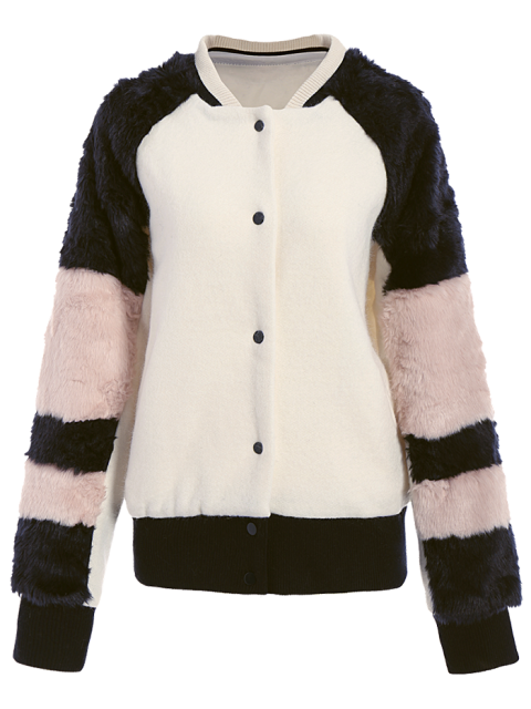 outfit Faux Fur Panel Stand Neck Coat - WHITE S Mobile