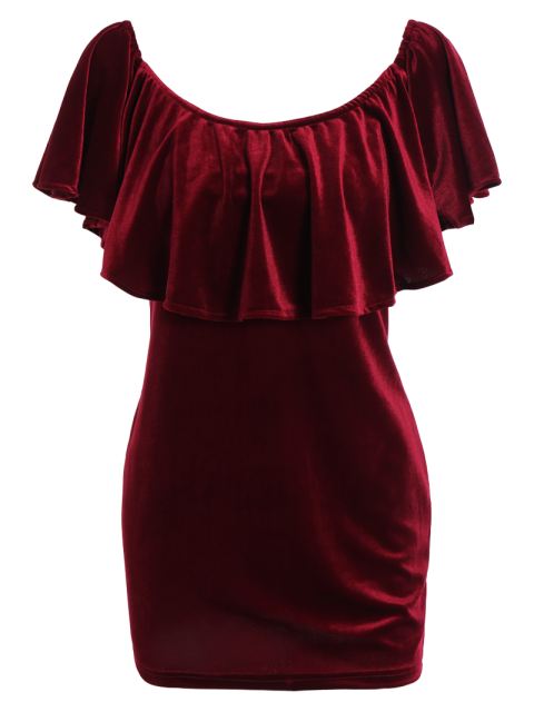 outfits Women Velvet Off The Shoulder Bodycon Dress - WINE RED S Mobile