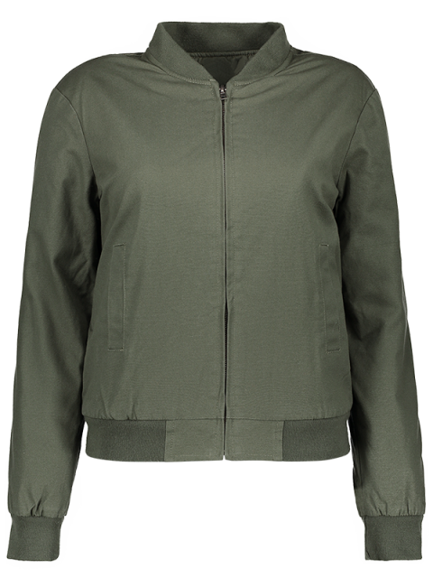 womens Thick Bomber Jacket - ARMY GREEN L Mobile