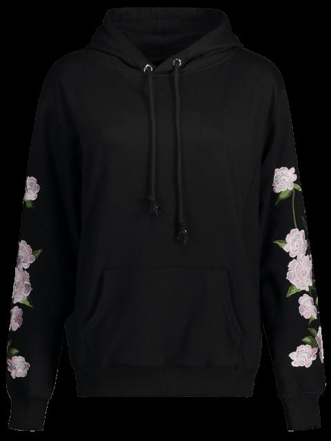 chic Floral Embroidered Big Pocket Hoodie - BLACK L Mobile