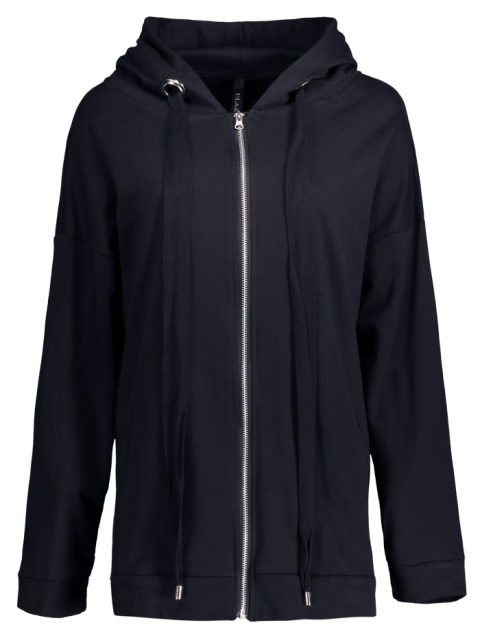 chic Slouchy Zip Up Oversized Hoodie - BLACK ONE SIZE Mobile