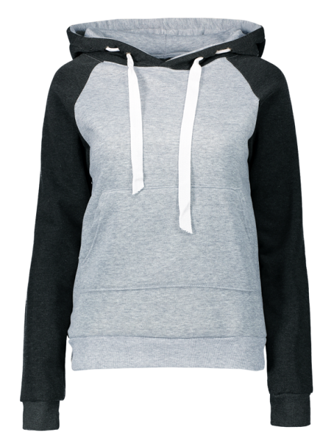 unique Color Block Hoodie with Front Pocket - LIGHT GREY S Mobile