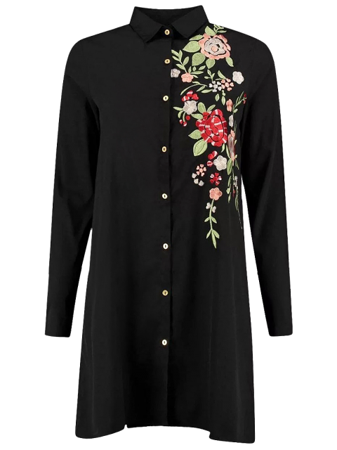 affordable Floral Embroidered Long Sleeve A-Line Dress - BLACK S Mobile