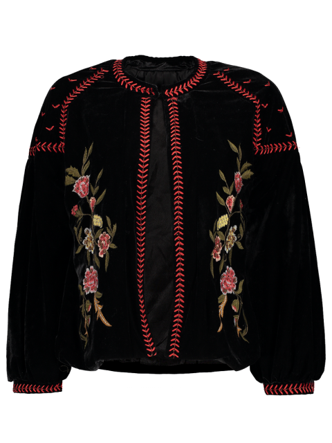 hot Embroidered Velvet Jacket - BLACK M Mobile