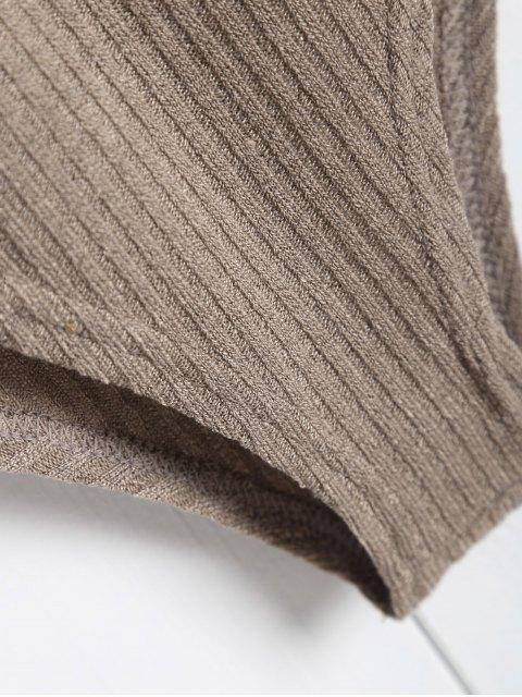 fancy Ribbed Knit Tie Front Plunge Bodysuit - LIGHT BROWN L Mobile