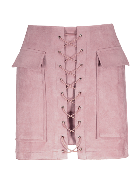 outfits Lace Up Faux Suede Mini Skirt - PINK L Mobile