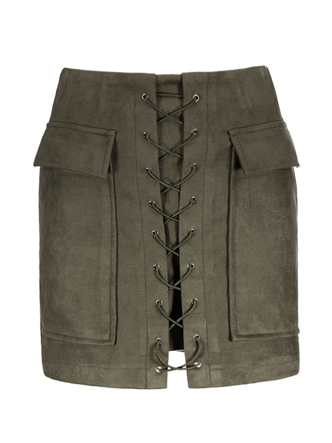 fashion Lace Up Faux Suede Mini Skirt - ARMY GREEN S Mobile