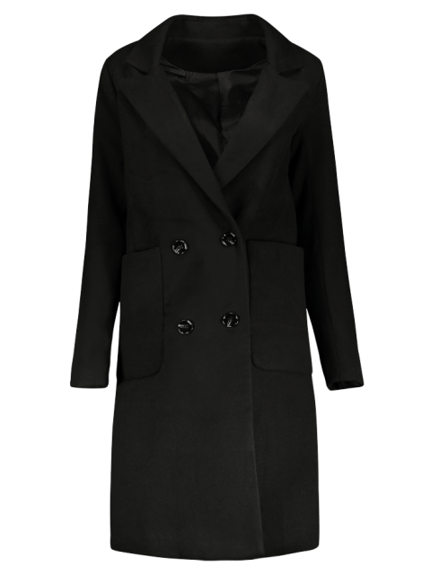 unique Double Breasted Wool Blend Midi Coat - BLACK S Mobile