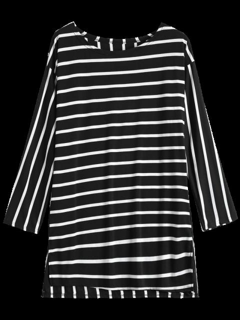 fancy Side Slit Long Sleeve Striped Mini Dress - STRIPE S Mobile