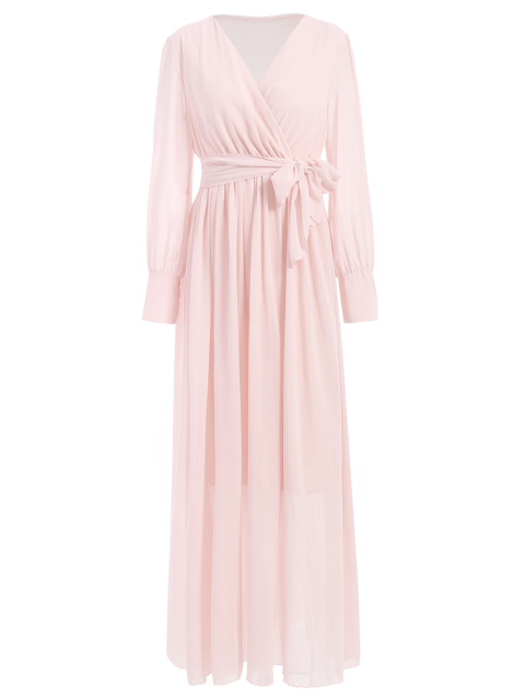 lady Belt Maxi Surplice Dress - PINK S Mobile